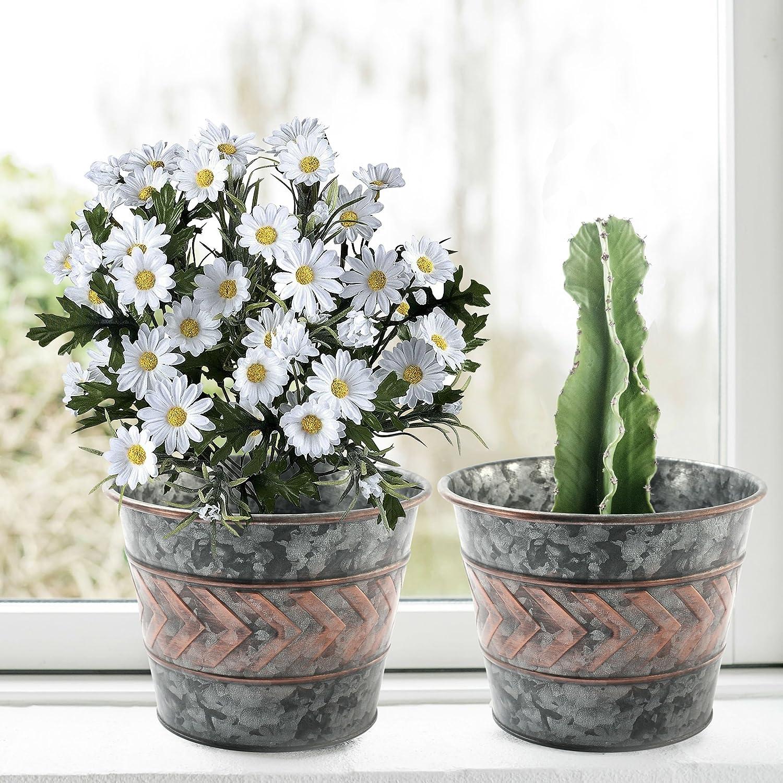 2 Pack Flower Pots D23cm H17cm Metal Galvanized Garden Planters Decor Indoor and Outdoor LA JOLIE MUSE