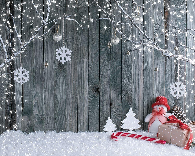 WaW 7x5ft Grey Fotohintergrund Weihnachten Schneeflocke: Amazon.de ...