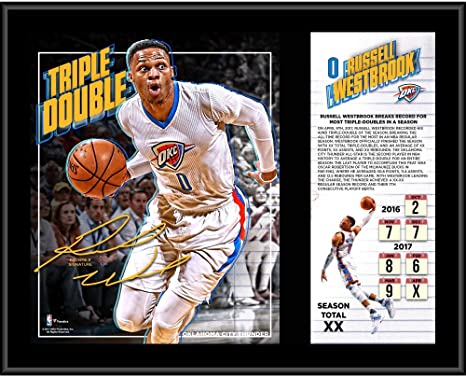 aee78266206 Russell Westbrook Oklahoma City Thunder 12 quot  x 15 quot  Triple-Double  Record Breaking Sublimated