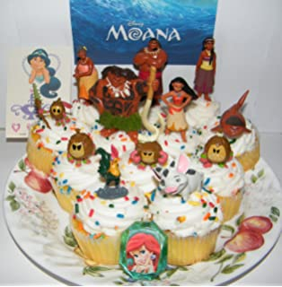 disney moana movie deluxe mini cake toppers cupcake decorations set of 14 with 12 figures - Birthday Cake Decorations