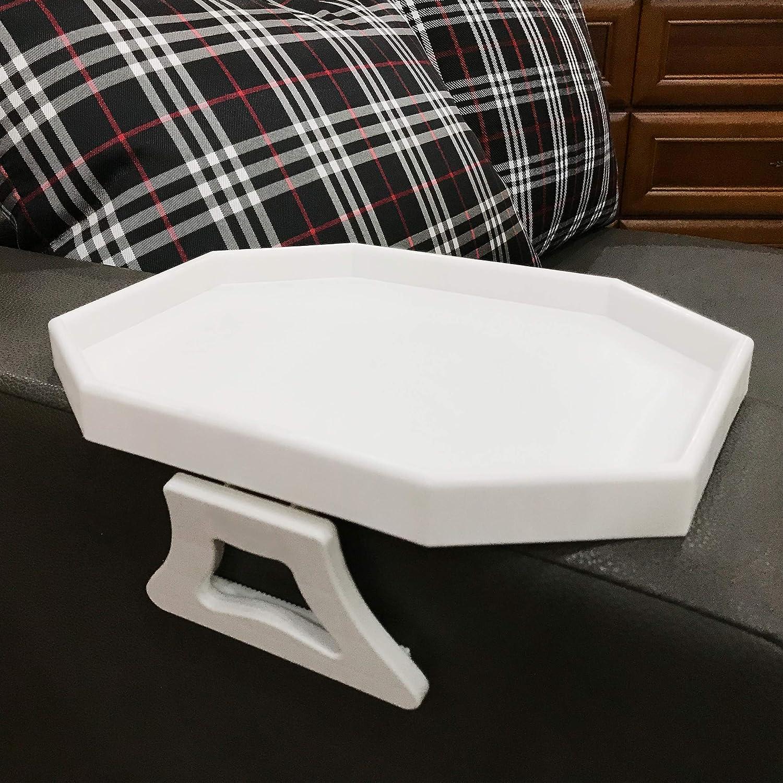 Forzaddik Side tables Sofa Armrest Clip-On Table, Recliner Armchair Organizer Tray (White)