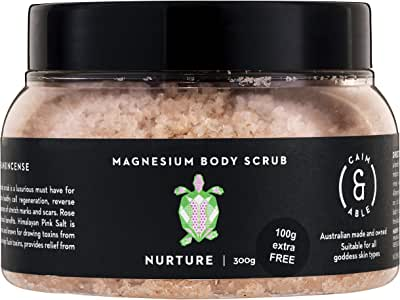 Caim & Able Magnesium Body Scrub 300g NURTURE - Frankincense & Rose - Magnesium Sulphate Hydrating Oils Australian Made & Owned Birthday Gifts For Women Her natural vegan cruelty free