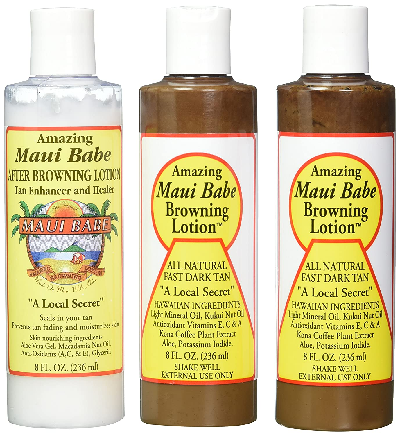 Maui Babe Tanning Pack (2 Browning Lotions 8 oz, 1 After Browning Lotion 8 oz) B000OF8C7E