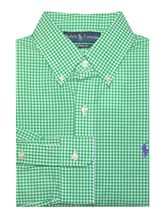 4db03e4af Image Unavailable. Image not available for. Color  Polo Ralph Lauren Mens  Custom Fit Casual Dress Shirt Gingham Green ...