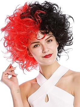 WIG ME UP- 91344-P103+PC13 Peluca Halloween Mujeres Hombres Diva Malvada Loca Masa de Pelo Rizado rebelde Mitad Rojo Mitad Negro