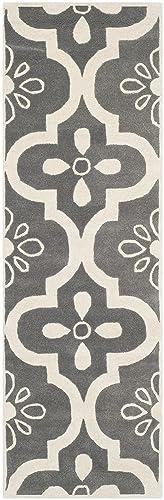 Safavieh Chatham Collection CHT751D Handmade Dark Grey and Ivory Premium Wool Runner 2 3 x 7