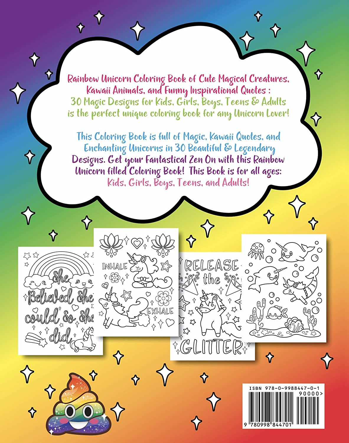 A fun magic coloring book amazon - Amazon Com Rainbow Unicorn Coloring Book Of Cute Magical Creatures Kawaii Animals And Funny Inspirational Quotes 20 Sargent Art Firm Brush Tip Marker