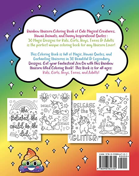 amazoncom rainbow unicorn coloring book of cute magical creatures kawaii animals and funny inspirational quotes 20 sargent art firm brush tip marker