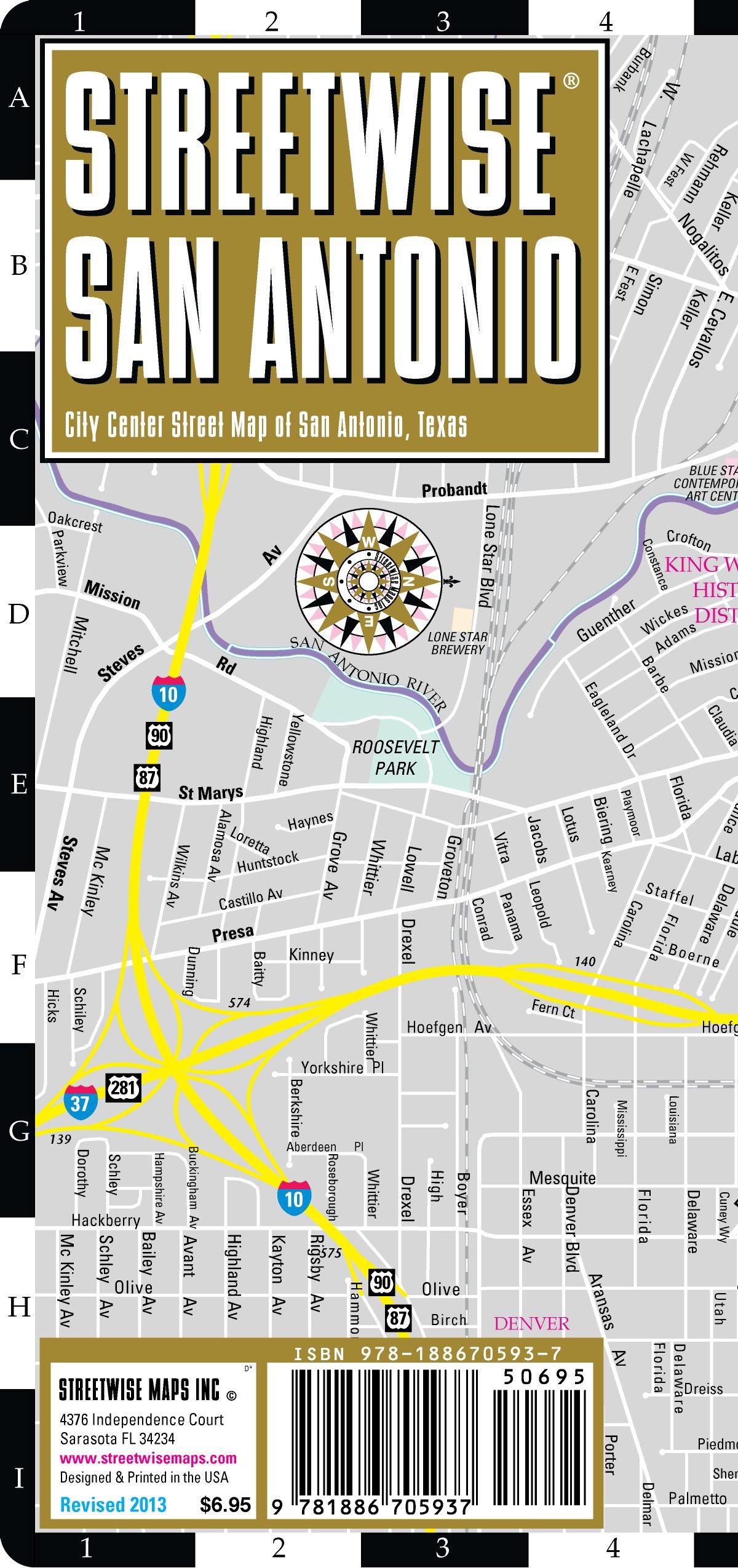 Streetwise San Antonio Map - Laminated City Center Street Map of San ...