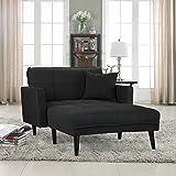 Divano Roma Furniture Modern Linen Fabric Recliner Futon Chaise Lounge - Futon Sleeper Single Seater (Dark Grey)