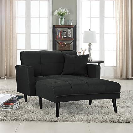 modern linen fabric recliner sleeper chaise lounge   futon sleeper single seater  dark grey  amazon    modern linen fabric recliner sleeper chaise lounge      rh   amazon
