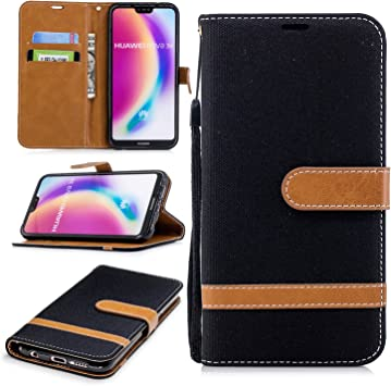 MSOSA para Huawei P20 Lite/Nova 3e Funda, el Estuche Flip Slim Fit Premium Denim, la Funda para Tarjeta de Monedero Cover -Negro: Amazon.es: Electrónica