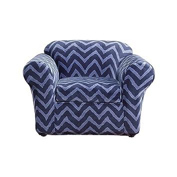 Sure Fit Stretch Plush Chevron 2 Piece   Chair Slipcover   Indigo (SF44690)
