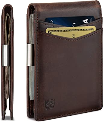 Mens Wallet Bifold Genuine Leather RFID Blocking Slim Wallets with Money Clip US