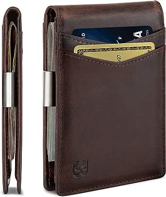 SERMAN BRANDS Money Clip Wallet - Mens Wallets slim Front Pocket RFID Blocking Card Holder Minimalist Mini Bifold