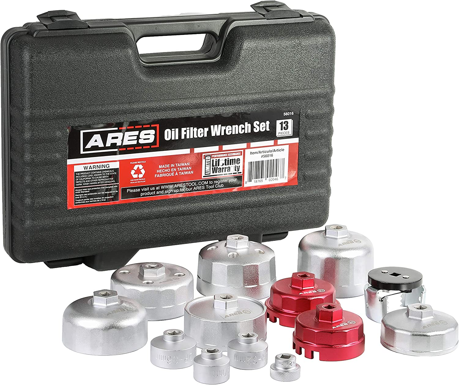 Easily Remove Oil Filters on Most Vehicles Convenient Storage Case Included ARES 56016-13-Piece Oil Filter Wrench Set 3//8-Inch Drive