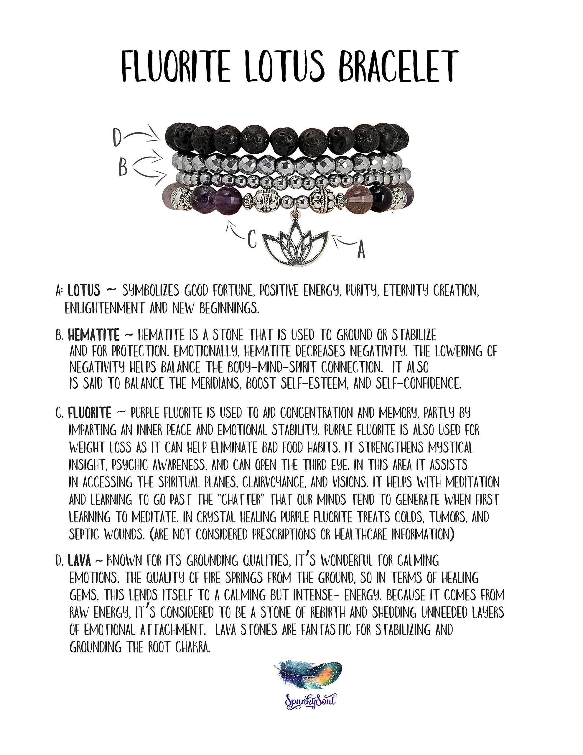 SPUNKYsoul Purple & Green Fluorite Lotus New Beginnings Bracelet Hematite for healing Stack Bracelet Set Collection by SPUNKYsoul (Image #4)
