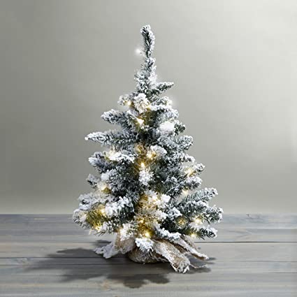 24 pre lit flocked christmas tree with warm white leds indoor use - White Flocked Christmas Trees