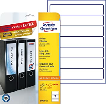 Avery Zweckform L4760-25 - Etiquetas para archivadores (192 x 38 mm, 175 unidades), color blanco: Amazon.es: Oficina y papelería