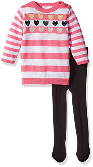 92695a2eac00c Amazon.com: Petit Lem Baby Girls' Rock Star Pink Stripe Lurex Sweater Dress  with Tights: Clothing