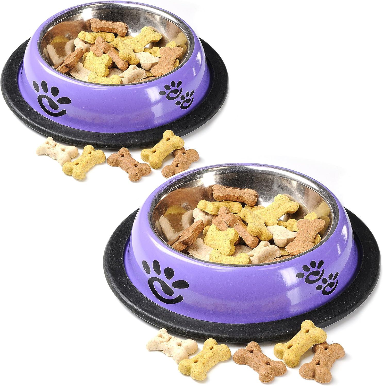 2x Comedero para perros y gatos, 150 ml, metal con ...