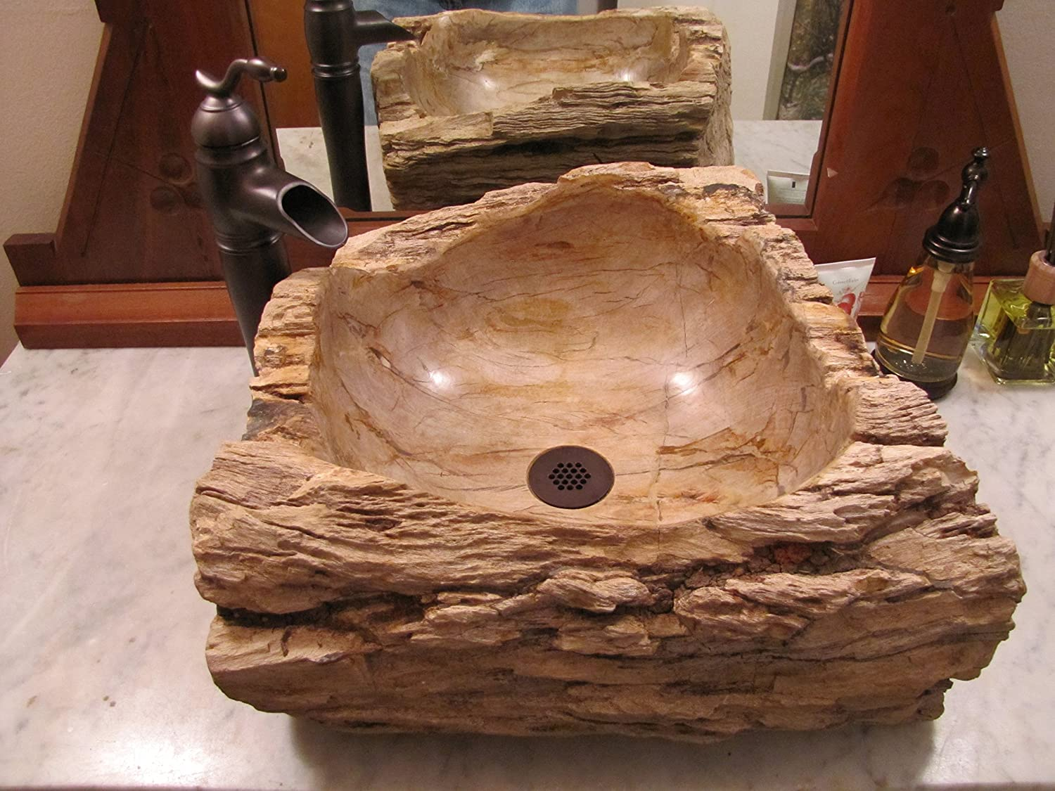 eden bath s028pwp natural stone sink petrified wood vessel sinks amazoncom