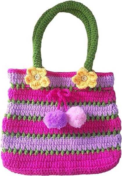 Crochet girl purse handmade accessory kids/' teen bag small with handle SALE