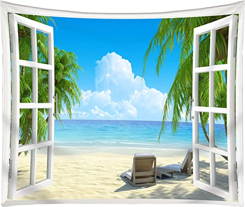 Get Orange Beach Tapestry Palm Trees in Ocean Heaven Sunbeds Balcony White Wooden Windows Summer Tropical, Wall Hanging for Bedroom Living Room Dorm 80×60 Inch
