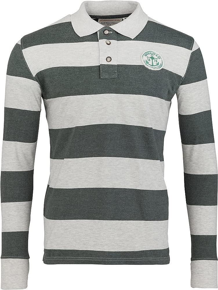 Adenauer & Co Camisa Polo de Manga Larga Rugby Polo, Color: Verde ...