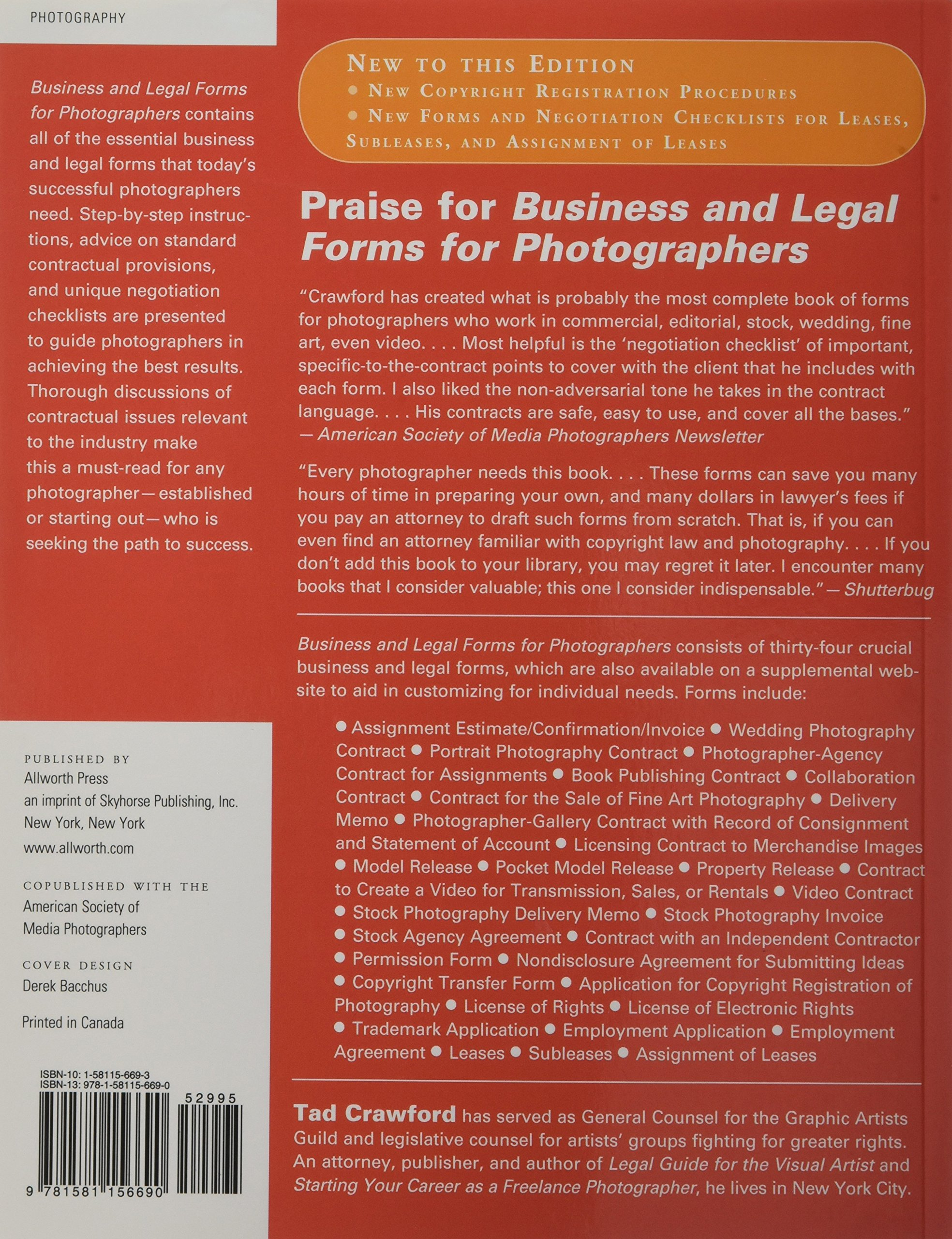 Business And Legal Forms For Photographers CD NOT INCLUDED Tad - Standard legal forms
