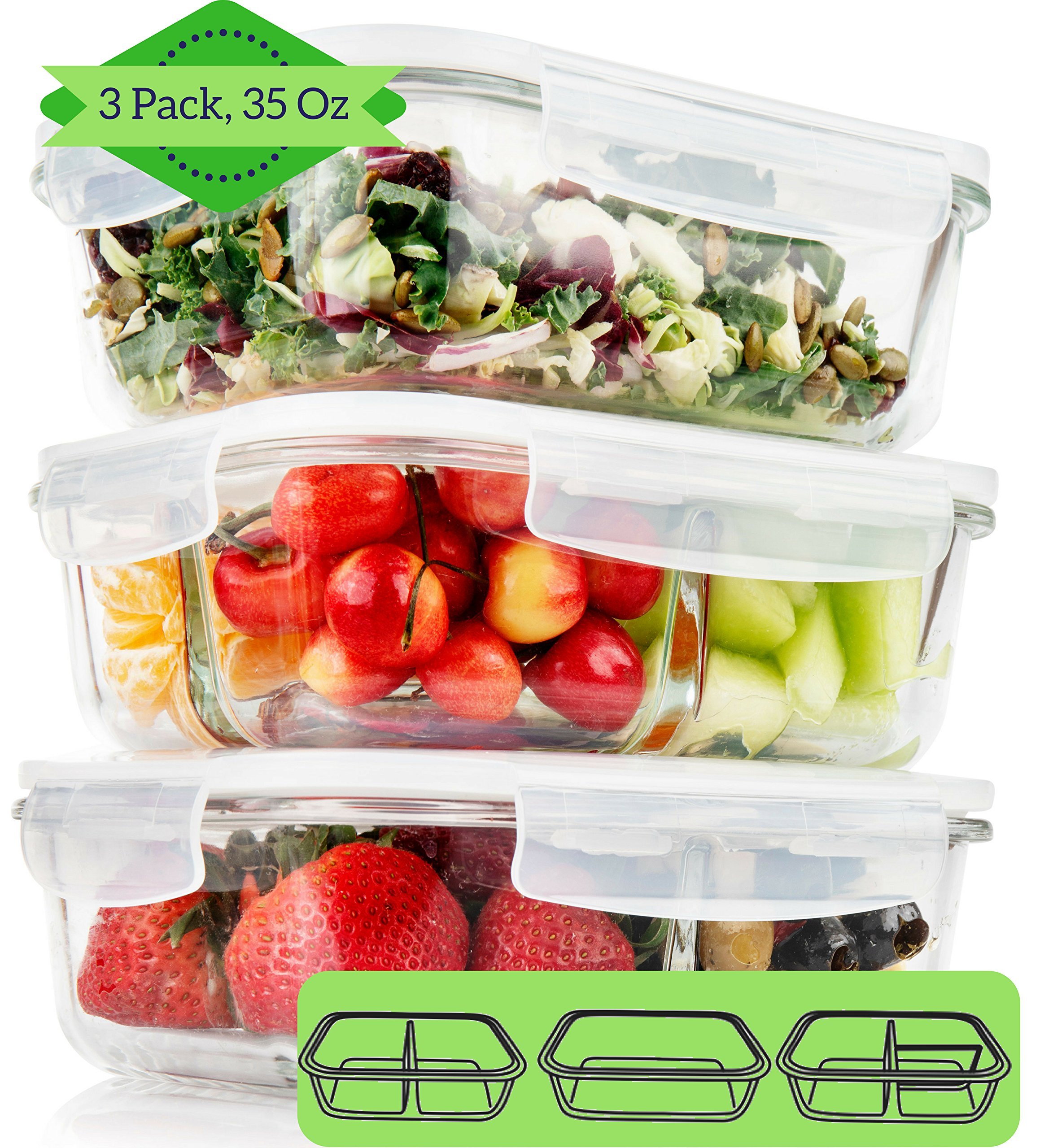 1, 2, 3 Compartment Glass Meal Prep Containers (3 Pack, 1000 ML)