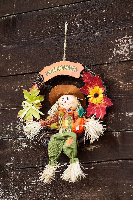 Marron couronne de porte /à suspendre avec feuilles 32 cm D/écoration dautomne vert orange jaune /Ø env Heitmann Deco Couronne dautomne avec /épouvantail
