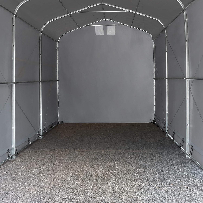 Lagerzelt 5x10 m mit Oberlicht Zelthalle Weidezelt Boot Garage PVC 720 g//m² grau