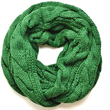 Forest Green Chunky Knitted Infinity Loop Circle Scarf Cable Pattern