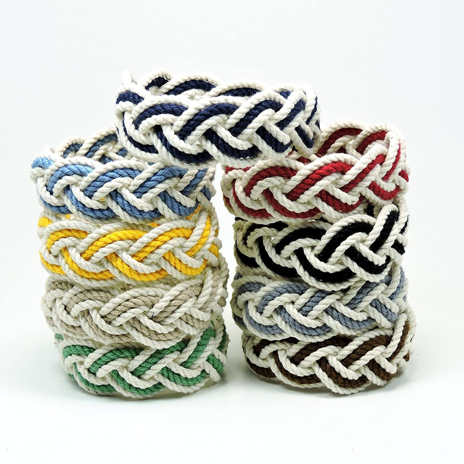 a9205a2481acd Sailor Knot Rope Bracelet White Cotton with Nautical Stripe