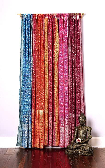 Light-Filtering Sari Colorful Curtains – Boho Curtains, Bed Canopy Panel, Wall Tapestry or Window Treatment For Bedroom or Living Room – Customizable, Indian Print Curtains + Tote bag, 42x96 in.