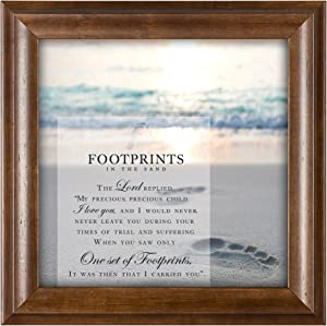 Cottage Garden Footprints in The Sand 12 x 12 Inspirational Woodgrain Framed Wall Art Plaque