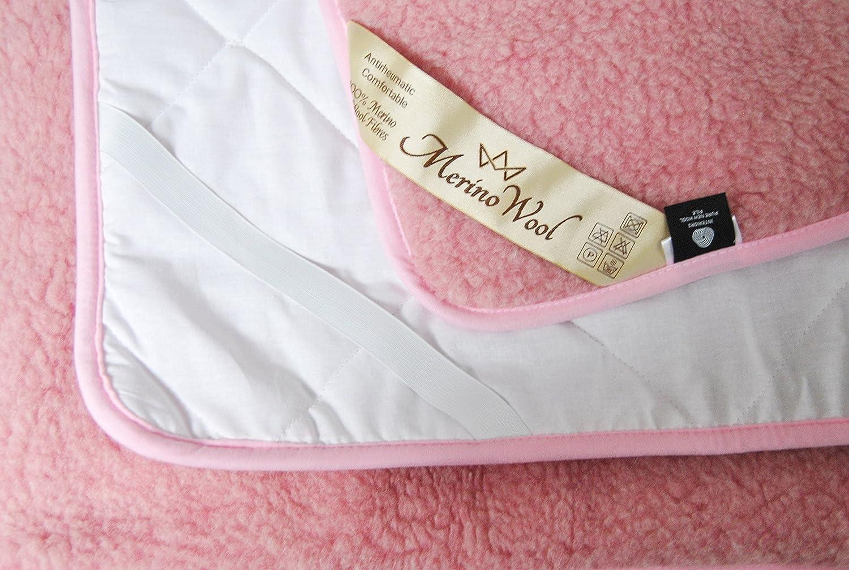 ROSA *** Protector colchón en varios tamaños / Lana Merino Protector de colchones con correas elásticas en las esquinas Cubre / Certificada por Woolmark.