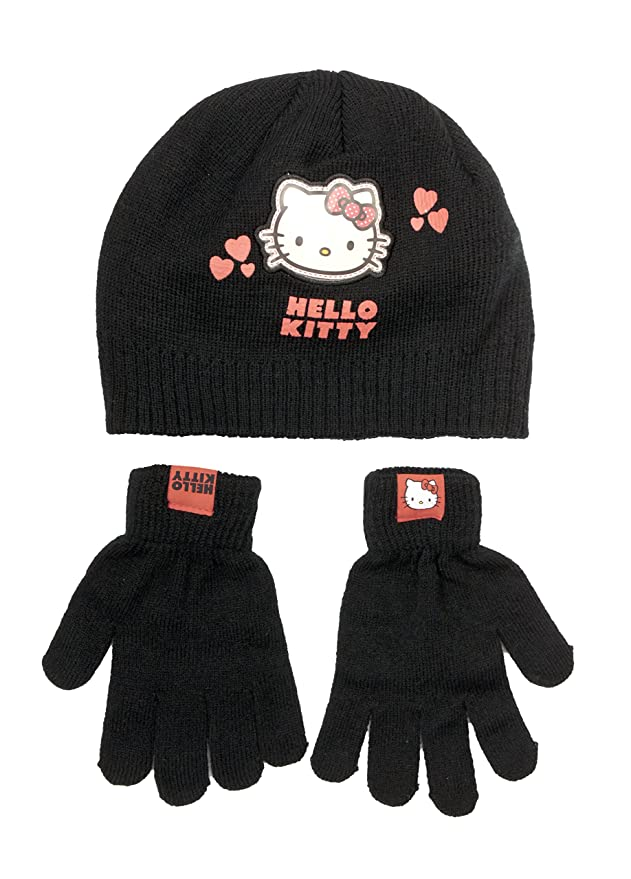 Official Licensed Hello Kitty Black Winter Beanie Hat Gloves Age 4-8 Years