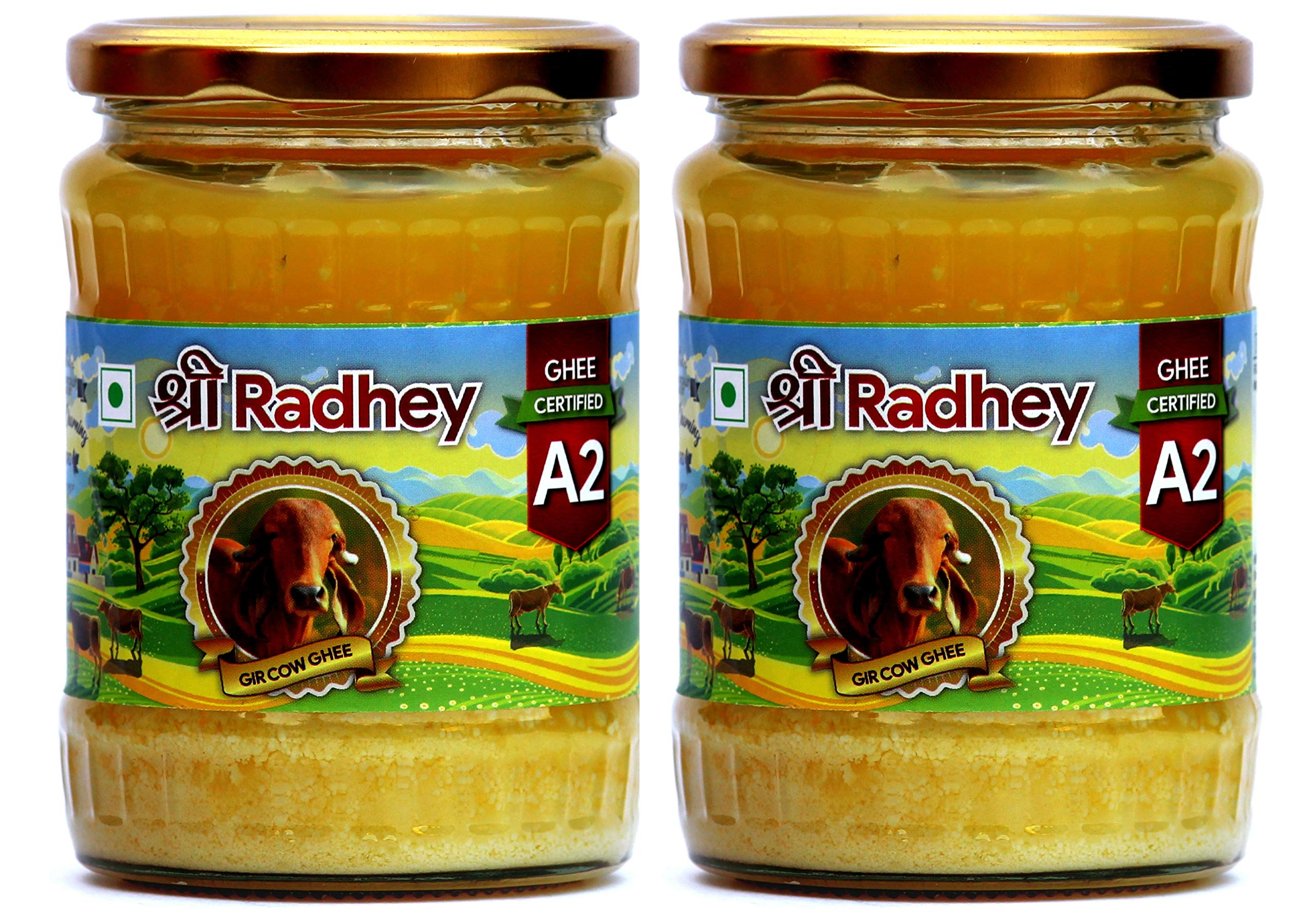 Shree Radhey Certified A2 Gir Cow Ghee - Gluten Free - (Traditionaly Hand Churned) (500 ml X 2) 33.8 OZ