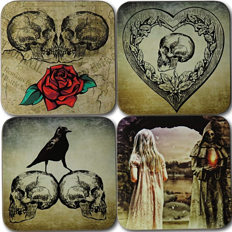 Saddlemount Cards Lot de 4 Dessous-de-Verre Gothiques Gothiques Ensemble Cadeau Gothique. Horreur Gothique