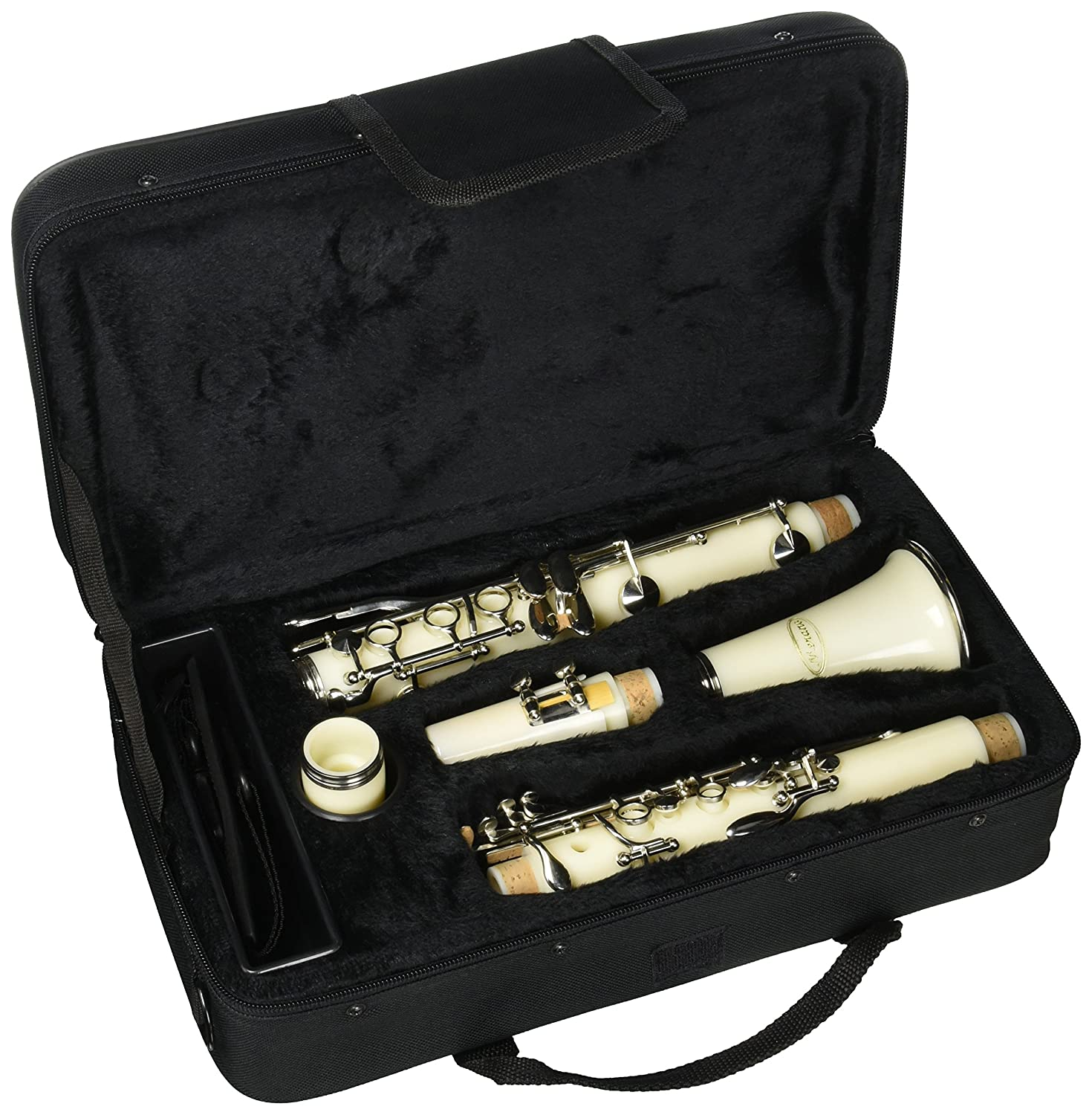 Merano WD401WT B Flat White/Silver Clarinet with Carrying Case, Mouth Piece, Screwdriver, Reed and Cap