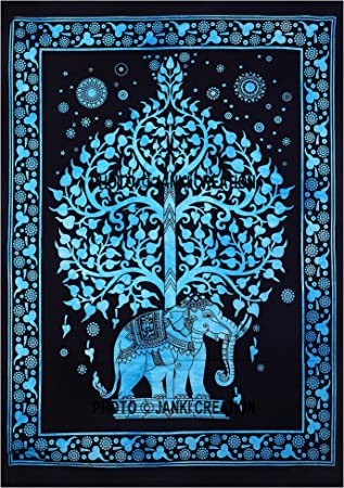Wall Hanging Small Cotton Star Mandala Elephant Beautiful Tapestery Poster Art