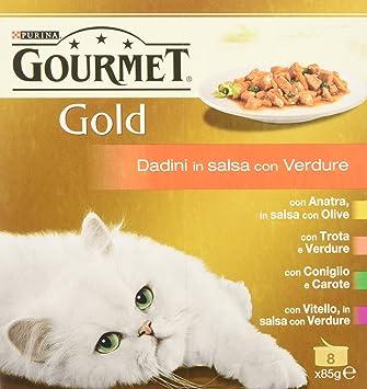 Gourmet Gold - Gato Dados de Salsa con Verduras, 12 Paquetes de (8 x 85 g): Amazon.es: Productos para mascotas