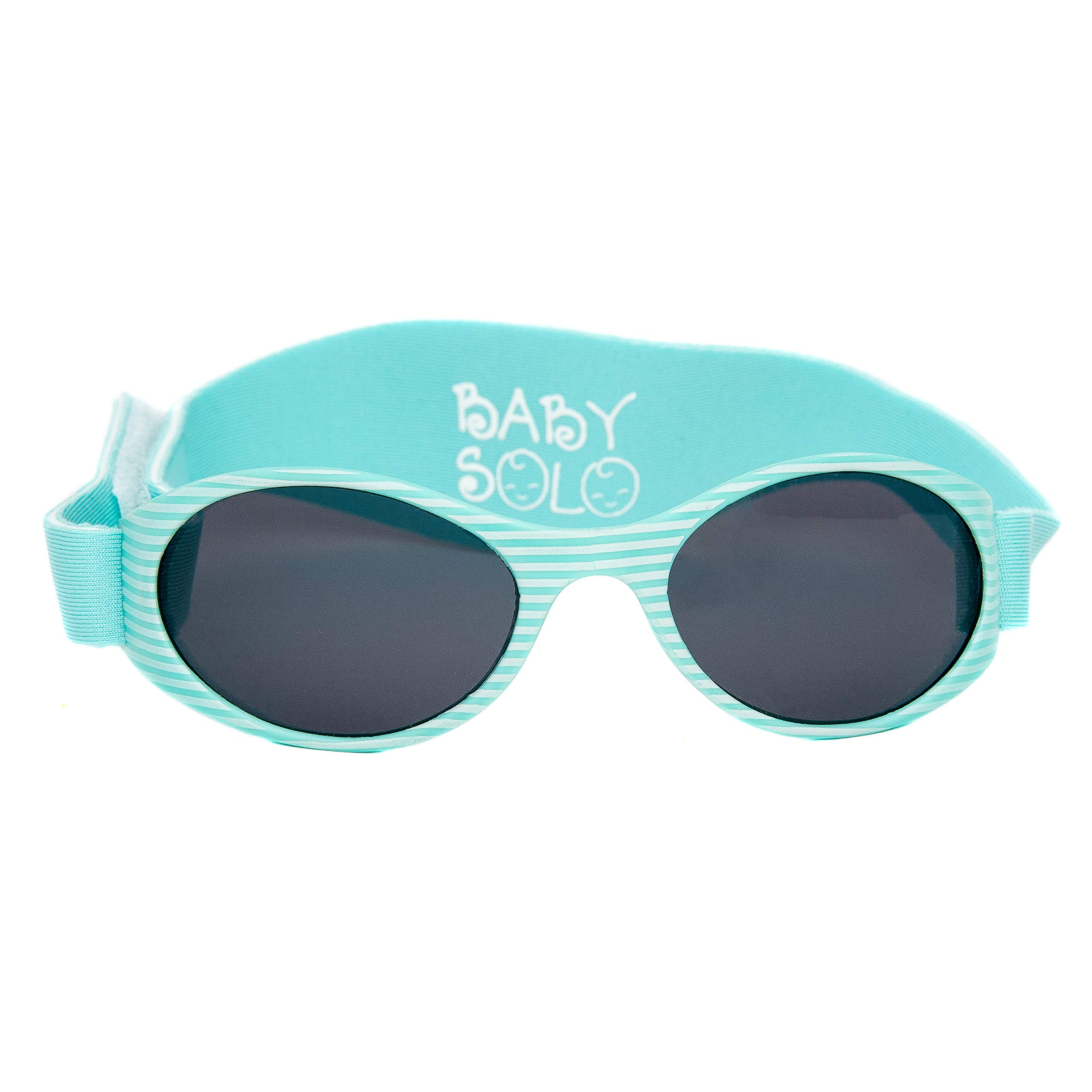 Baby Solo Sunglasses with strap Matte Aqua Stripes Frame w/Solid Black Lens