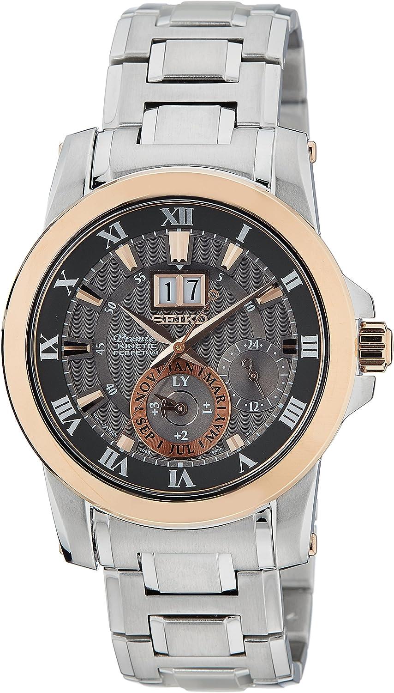 Seiko Snp114p1 Reloj Analogico para Hombre Colección Premier Kinetic Perpetual Caja De Acero Inoxidable Esfera Color Marron