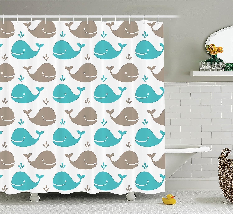 Amazon.com: Ambesonne Sea Animals Decor Shower Curtain Set, Pattern ...