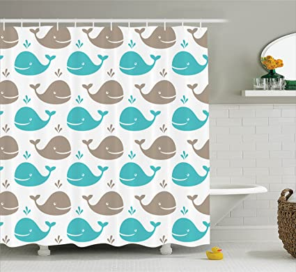 Superieur Ambesonne Sea Animals Decor Shower Curtain Set, Pattern With Smiling Whale  Cartoon Repeated Design Children