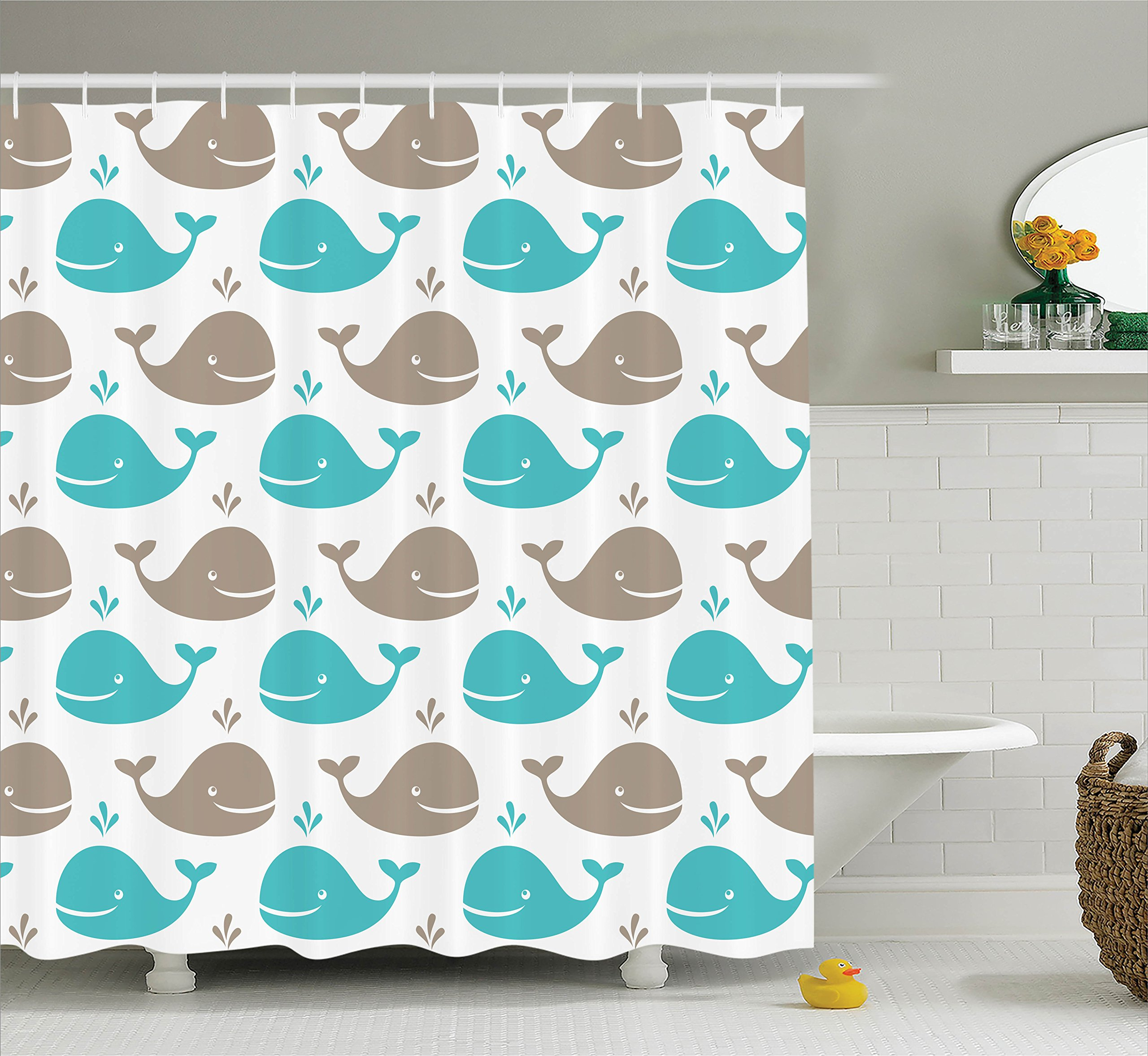 Ambesonne Sea Animals Decor Shower Curtain Set, Pattern with Smiling Whale Cartoon Repeated Design Children Illustration, Bathroom Accessories, 69W X 70L inches