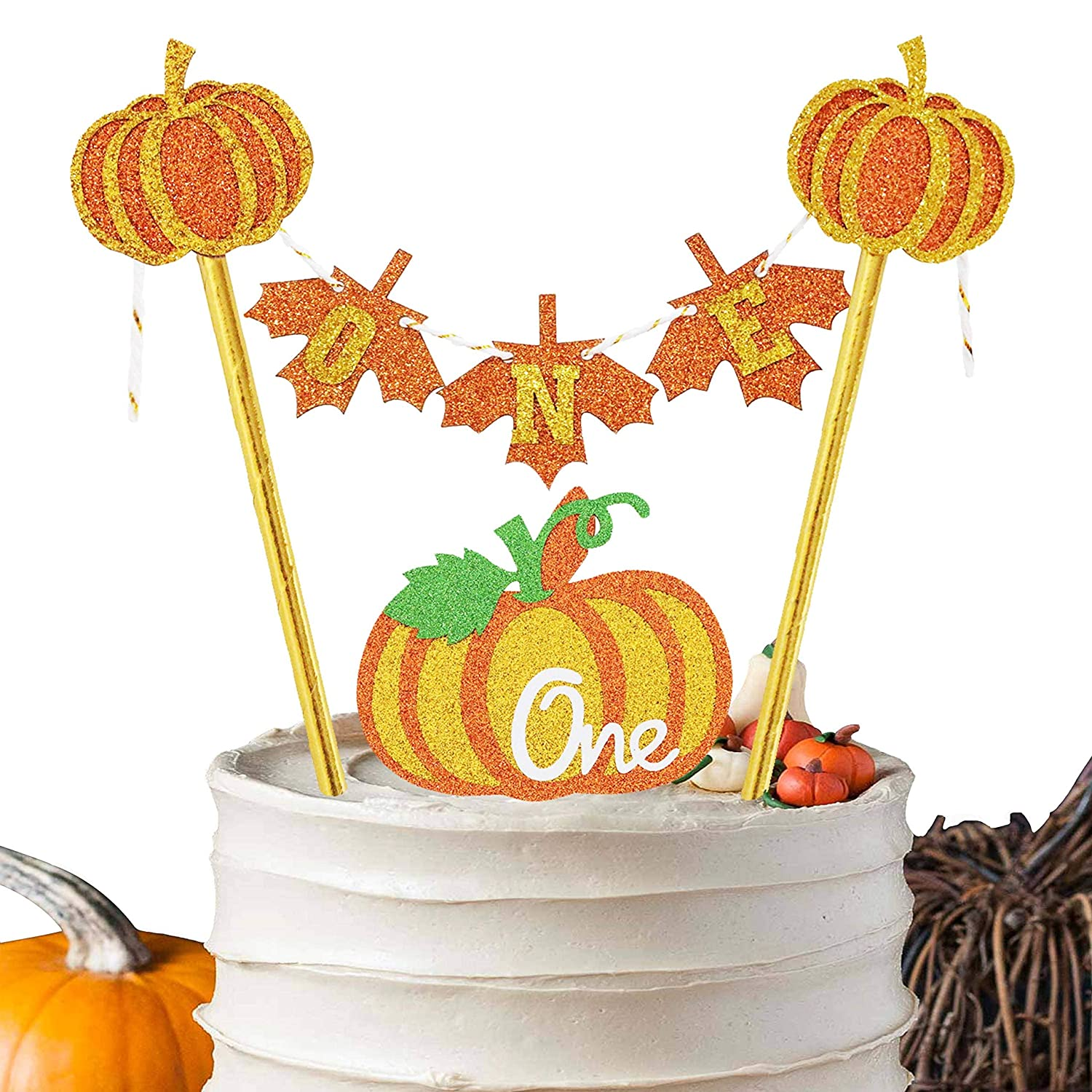 Wondrous Pumpkin Birthday Cake Topper Fall Harvest 1St Birthday Party Personalised Birthday Cards Beptaeletsinfo